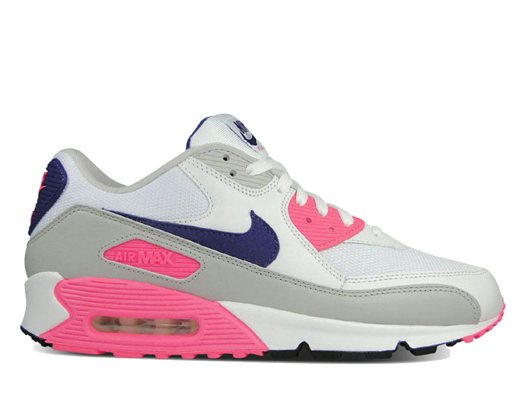 brand new 8222e 60be6 Nike Air Max 90 325213-105 Sneakers pas cher femme Blanc bleu rose