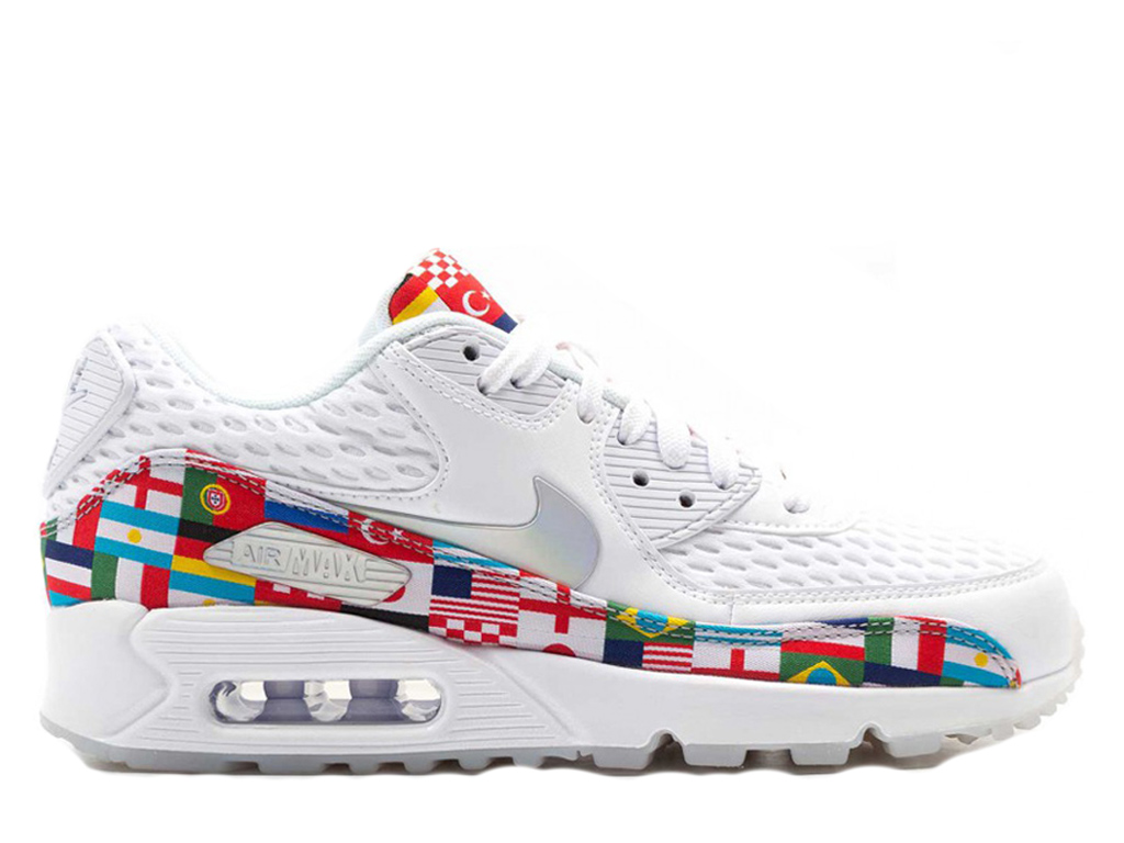 new concept fb0ab 8a0da Nike Air Max 90 NIC QS Sneakers International Flag World Cup Women´s White  Red