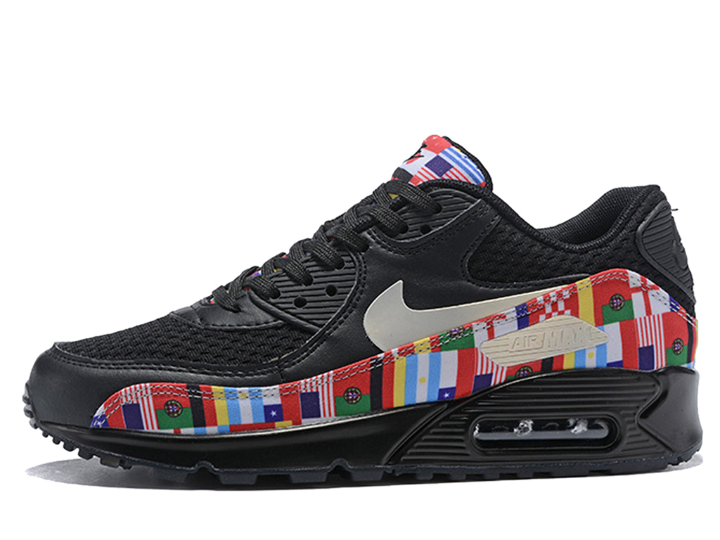 Nike Air Max 90 NIC QS Baskets Drapeau international coupe du monde Femme Noir rouge AO5119-001
