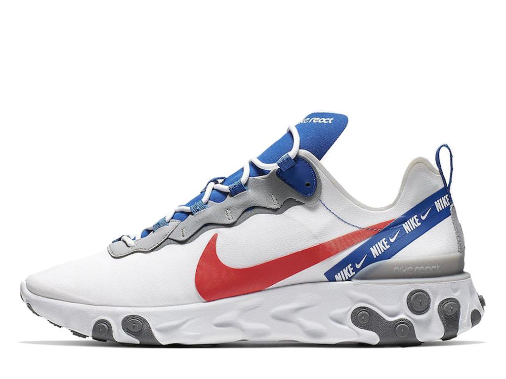 Nouveau produit Nike React Element 55 Chaussures retroTendance Homme Blanc  rouge bleu CD7340-100-1907251904-Nike Sneaker Prix Officiel site En France