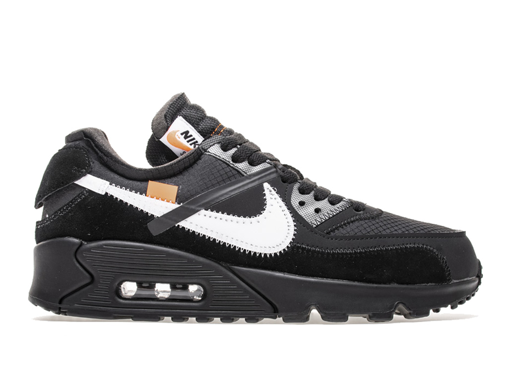Off-White x Nike Air Max 90 AA7293-001 Officiel Chaussures Basket-ball Sneaker Homme Femme Blanc noir