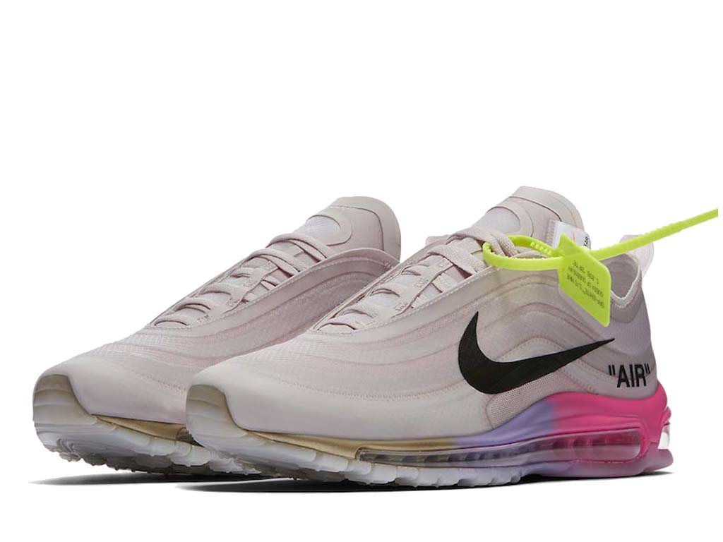 Off-White x Nike Air Max 97 AJ4585-600 Officiel Chaussures Sneaker Homme Femme Rose rose