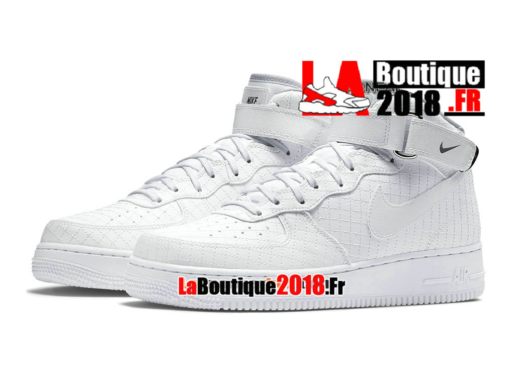 "Officiel Nike Air Force 1 07 Mid LV8 ""Quilted"" Pack - Chaussure Nike Sneaker Pas Cher Pour Homme Blanc 804609-100"