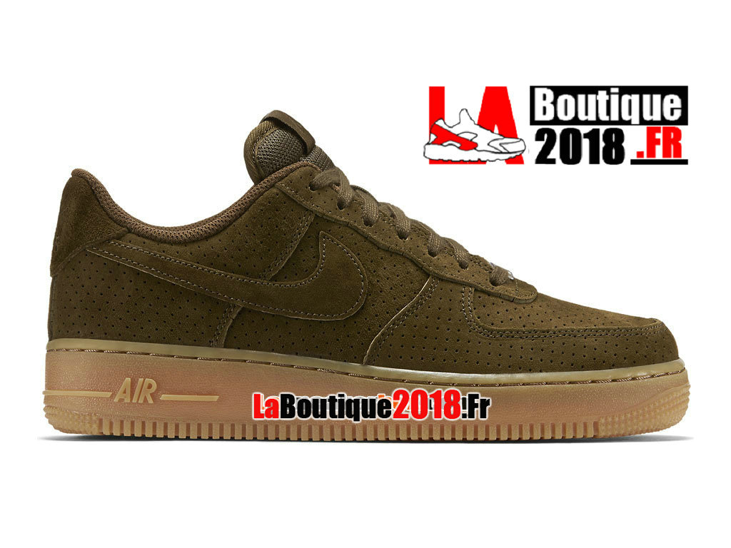 Officiel Nike Air Force 1 ´07 Suede Low - Chaussures Nike Sneaker Pas Cher Pour Homme Loden sombre/Gomme marron/Loden sombre 749263-300H