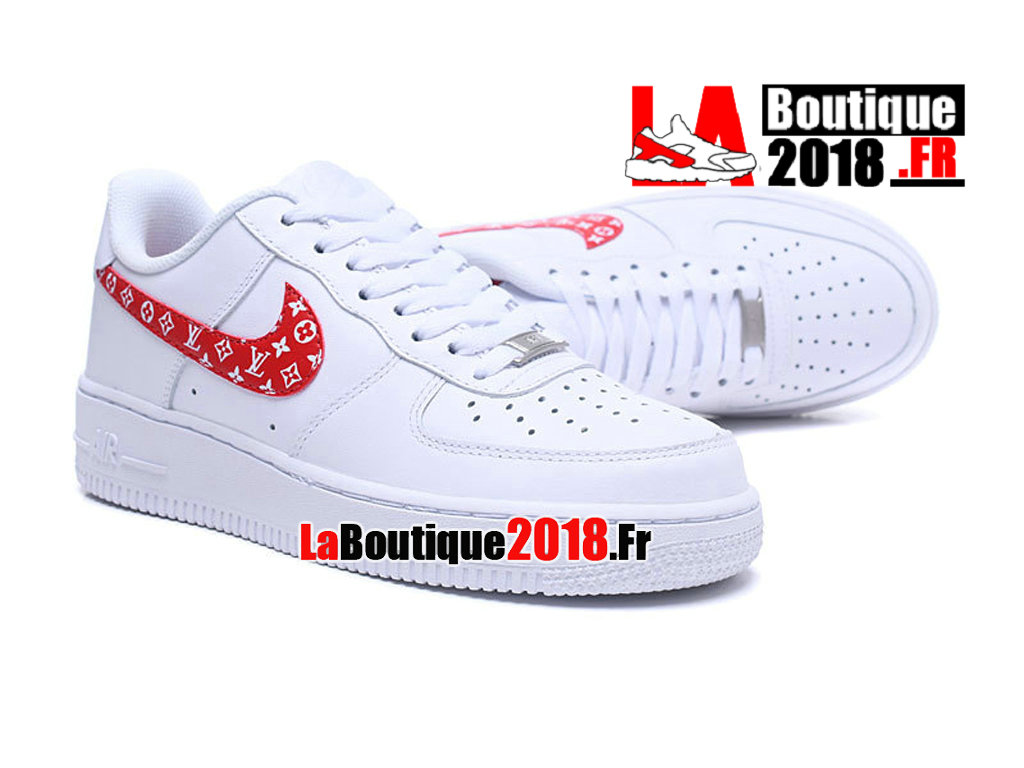 Officiel Nike Air Force 1 07 Supreme Cdg Blanc/Rouge 923027-100 Chaussures Nike Sneaker Pas Cher Pour Homme