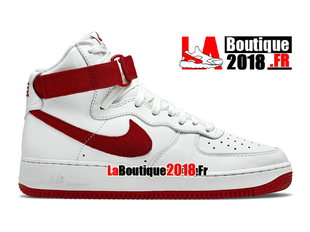"Officiel Nike Air Force 1 High Retro ""Nai Ke"" QS China Edition - Chaussure Nike Sneaker Pas Cher Pour Homme Blanc/Rouge intense 743546-100"