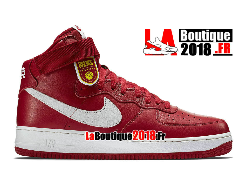 "Officiel Nike Air Force 1 High Retro ""Nai Ke"" QS China Edition - Chaussure Nike Sneaker Pas Cher Pour Homme Rouge sportif/Blanc immaculé 743546-600"