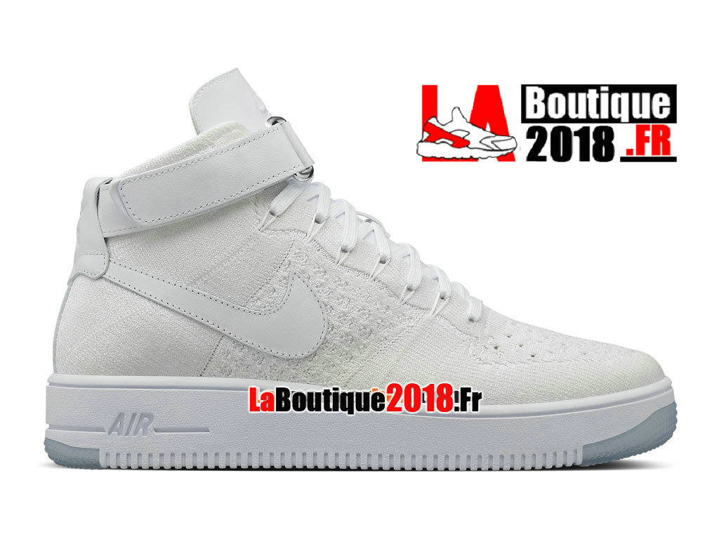 Officiel Nike Air Force 1 High Ultra Flyknit - Chaussure Nike Sneaker Pas Cher Pour Homme Blanc 817420-100
