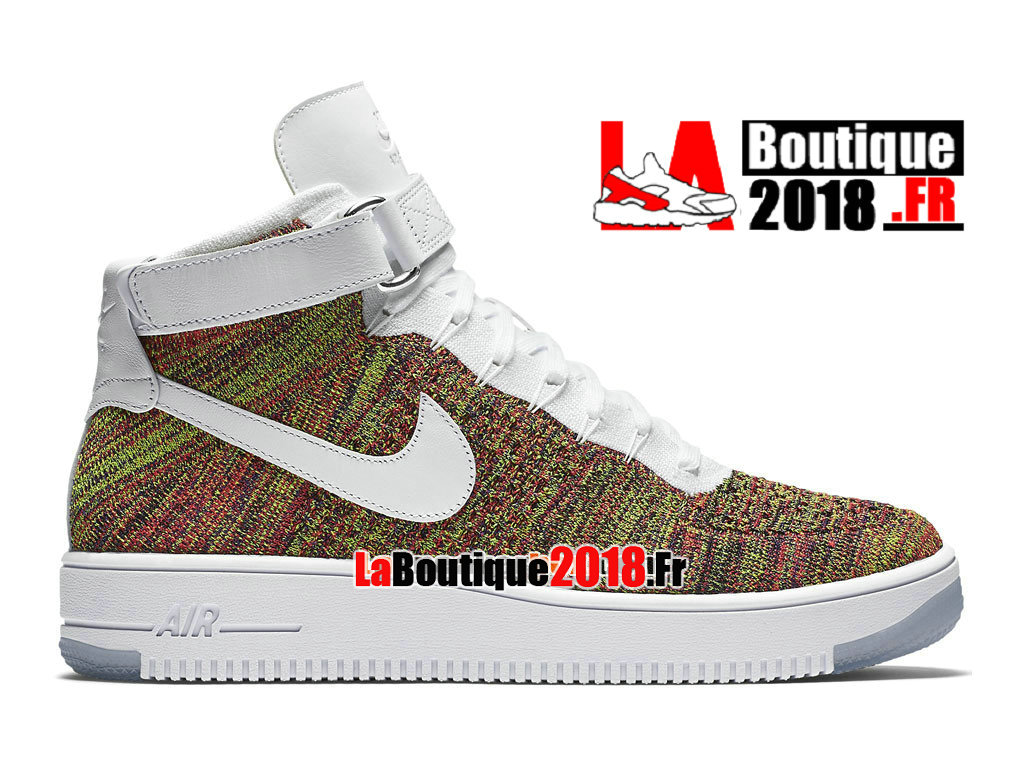Officiel Nike Air Force 1 High Ultra Flyknit - Chaussure Nike Sneaker Pas Cher Pour Homme Volt/Cramoisi brillant/Violet court/Blanc 817420-700