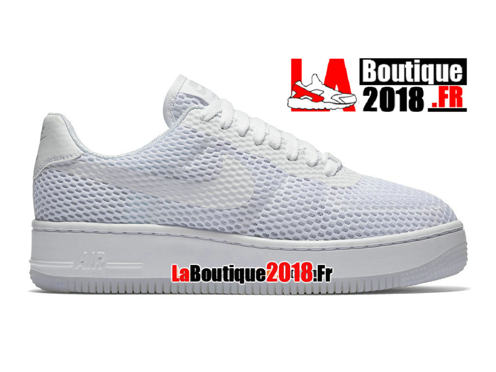 Officiel Nike Air Force 1 Low Upstep BR - Chaussures Nike Sneaker Pas Cher Pour Homme Blanc/Platine pur/Gris loup/Blanc 833123-100H