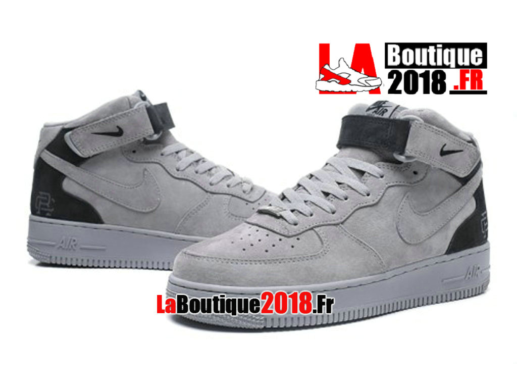 Officiel Nike Air force 1 Mid X Reigning Champ 3M Grey/Black 807618-200 Chaussures Nike Sneaker Pas Cher Pour Homme
