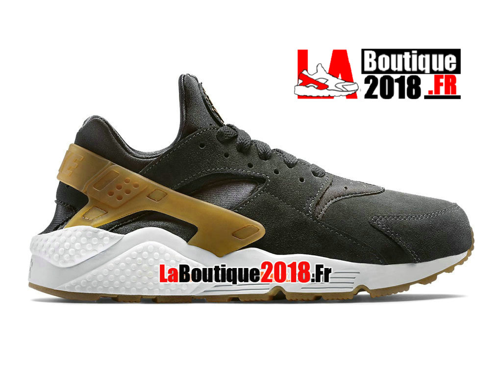 Officiel Nike Air Huarache Run Suede - Chaussure Nike Sneaker Pas Cher Pour Homme Anthracite/Gomme marron/Platine pur 318429-090