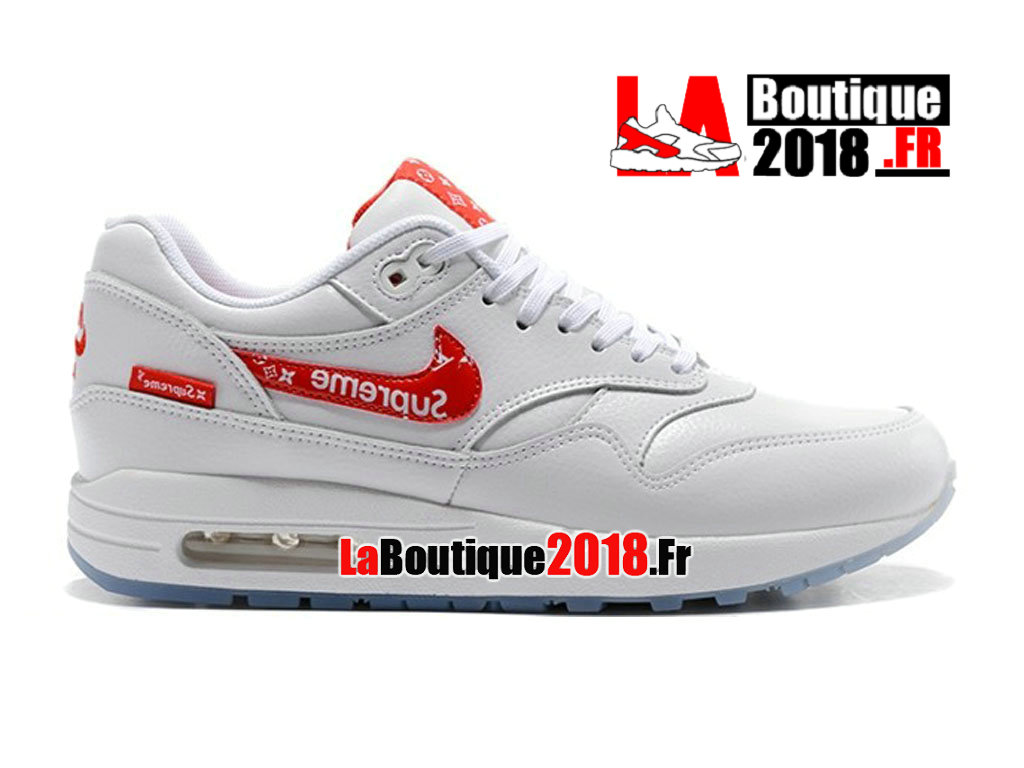 the best attitude d2d5e dbc3f Officiel Nike Air Max 1 Blanc Rouge Supreme Casual 918354-101 Chaussure Nike  Sneaker Pas