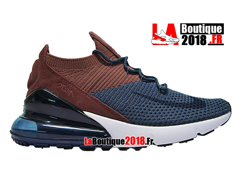 Officiel Nike Air Max 270 Flyknit - Chaussure Nike Sneaker Pas Cher Pour Homme Bule Brwon AO1023-004
