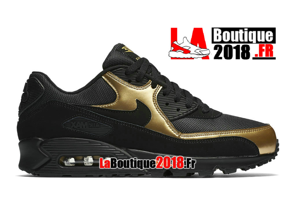 Officiel Nike Air Max 90 Essential - Chaussure Nike Sneaker Pas Cher Pour Homme Noir/Or 537384-058