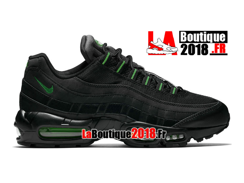 Officiel Nike Air Max 95 Essential (Nike iD) - Chaussures Nike Sneaker Pas Cher Pour Homme Noir/Anthracite/Vert émeraude 749766-006iD