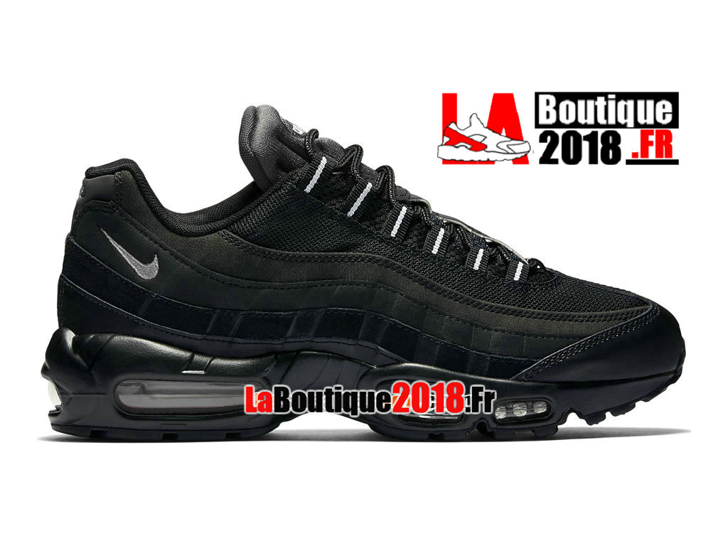 Officiel Nike Air Max 95 Essential (Nike iD) - Chaussures Nike Sneaker Pas Cher Pour Homme Noir/Blanc 749766-008iD