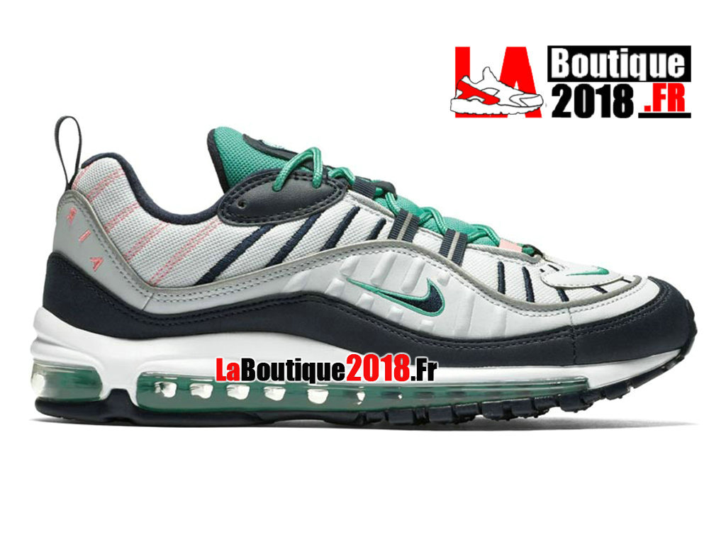 "Officiel Nike Air Max 98 ""South Beach"" - Chaussures Nike Sneaker Pas Cher Pour Homme Pure Platinum/Obsidian 640744-005"