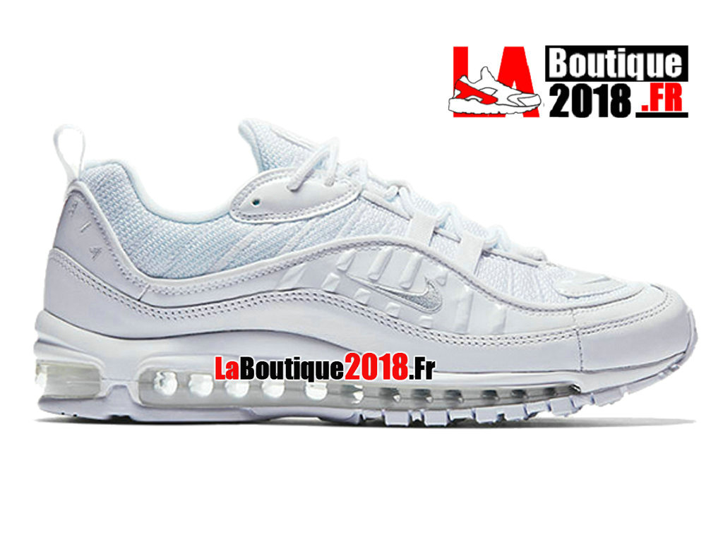 "Officiel Nike Air Max 98 ""White Pure Platinum"" - Chaussures Nike Sneaker Pas Cher Pour Homme Blanc 640744-106"