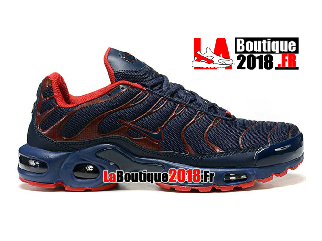 Officiel Nike Air Max Tn/Tuned Requin 2014 - Chaussures Nike TN Sneaker Pas Cher Pour Homme Bleu nuit marine/Rouge 604133-307