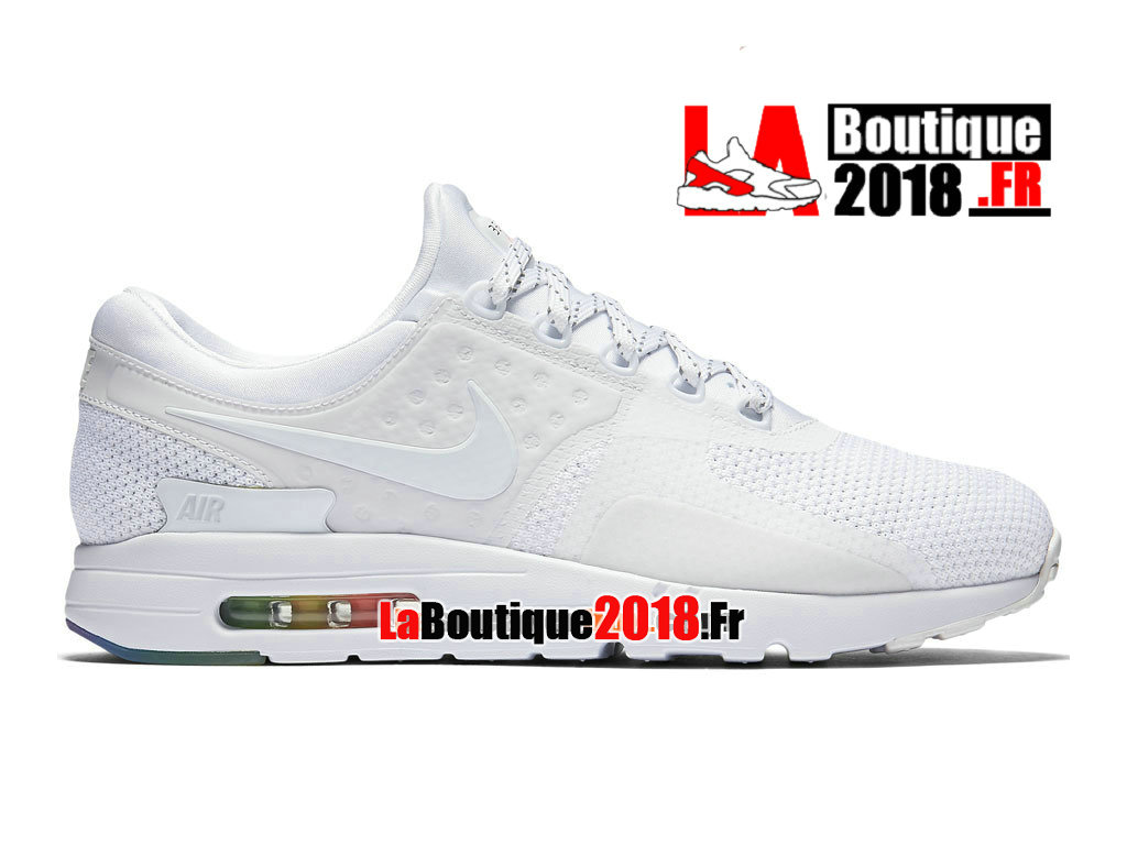 Officiel Nike Air Max Zero BeTrue - Chaussure Mixte Nike Sneaker Pas Cher (Taille Homme) Blanc/Platine pur/Blanc 789695-101
