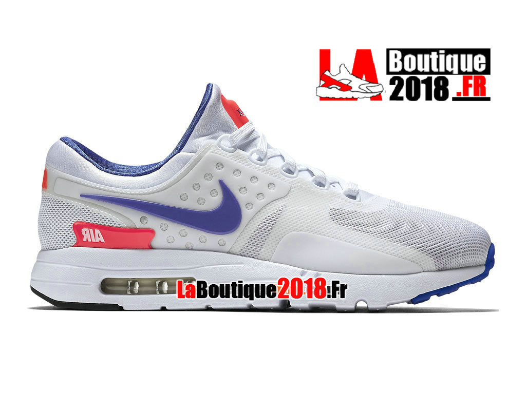 Officiel Nike Air Max Zero - Chaussure Mixte Nike Sneaker Pas Cher (Taille Homme) Blanc/Rouge solaire/Noir/Ultra marine 789695-105