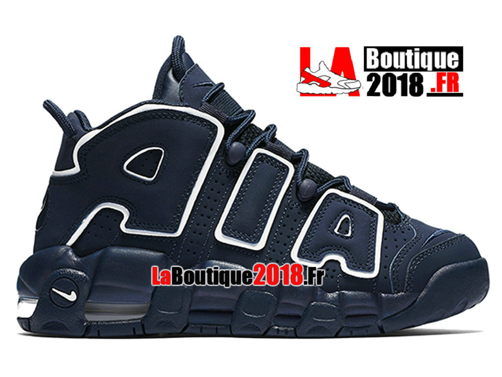 official photos 2de89 71144 Officiel Nike Air More Uptempo Kids Navy Blanc Marine 415082-401 Chaussure  Basket Nike ...