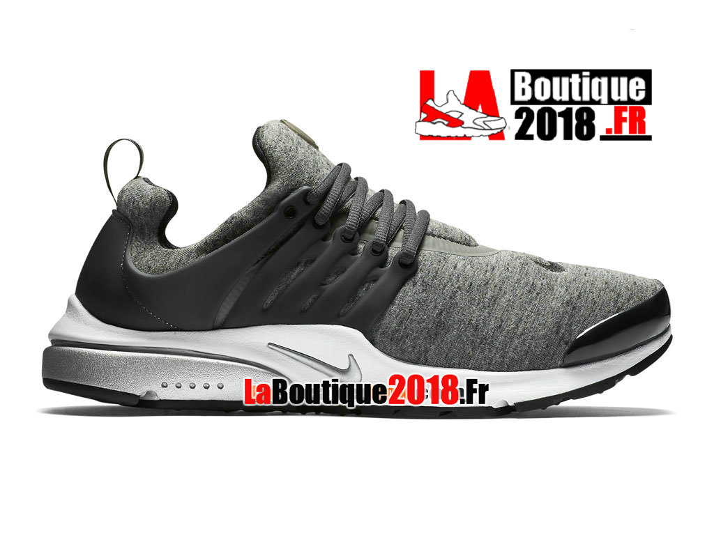 "Officiel Nike Air Presto TP ""Tech Fleece"" QS - Chaussures Nike Sneaker Pas Cher Pour Homme Tumbled Grey/Black/Anthracite/White 812307-002"