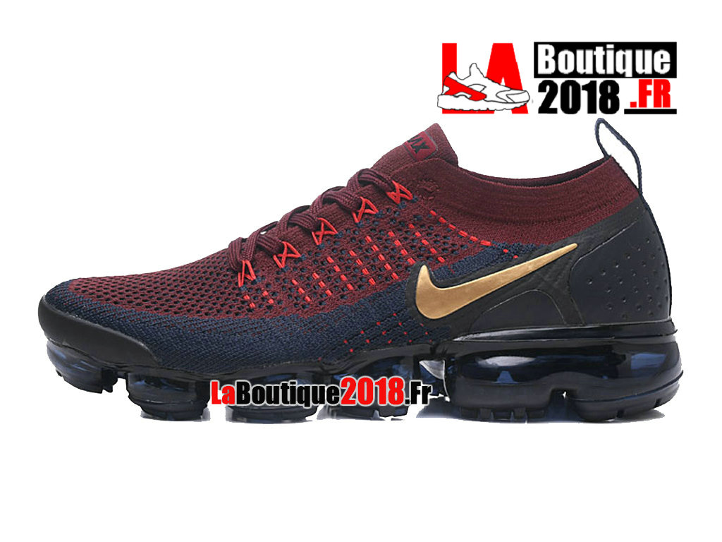 Officiel Nike Air VaporMax Flyknit 2. 0 W Bourgogne Or Bleu Marine 942842-601 Chaussure Nike Sneaker Pas Cher Pour Homme