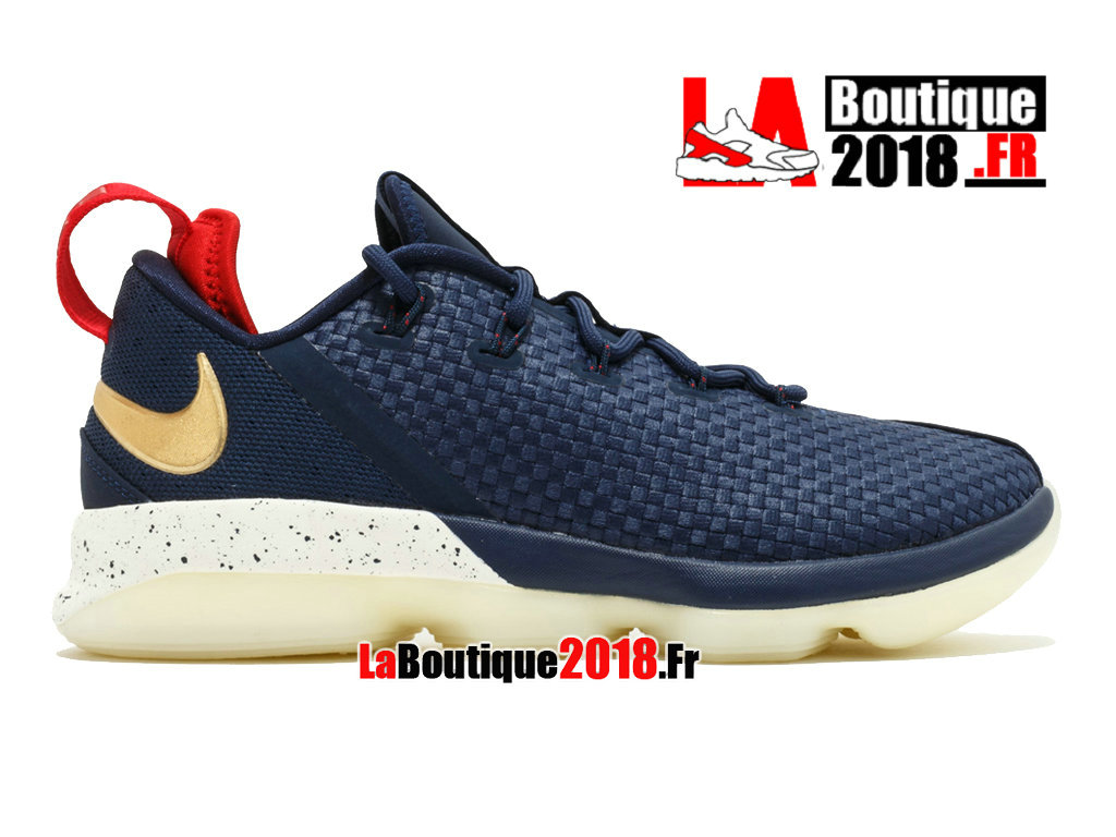 Officiel Nike Lebron 14 Low USA Navy Gold 878636-400 Chaussures Nike Sneaker Prix Pour Homme