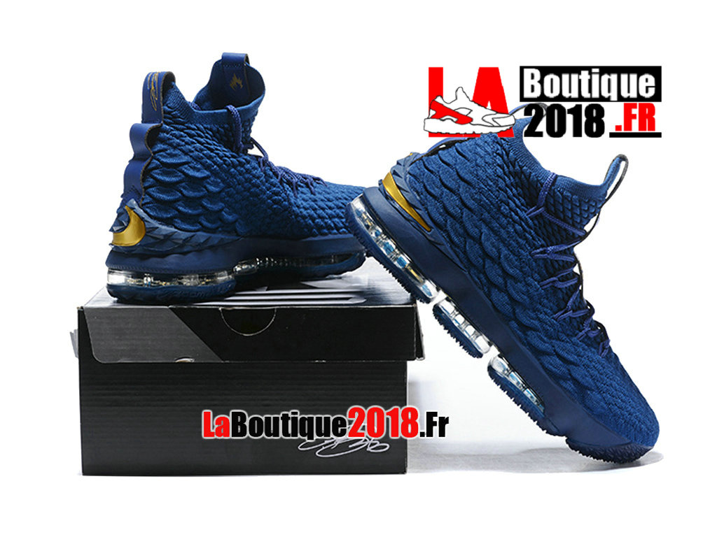 finest selection 142a6 7e0c0 ... Officiel Nike LeBron 15 Bleu Chaussure Basket Nike Sneaker Pas Cher  Pour Homme ...