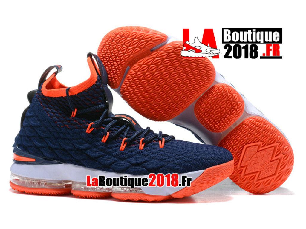 3d9ea1b4bec56 ... Officiel Nike LeBron 15 Bleu Orange Chaussure Basket Nike Sneaker Pas  Cher Pour Homme ...