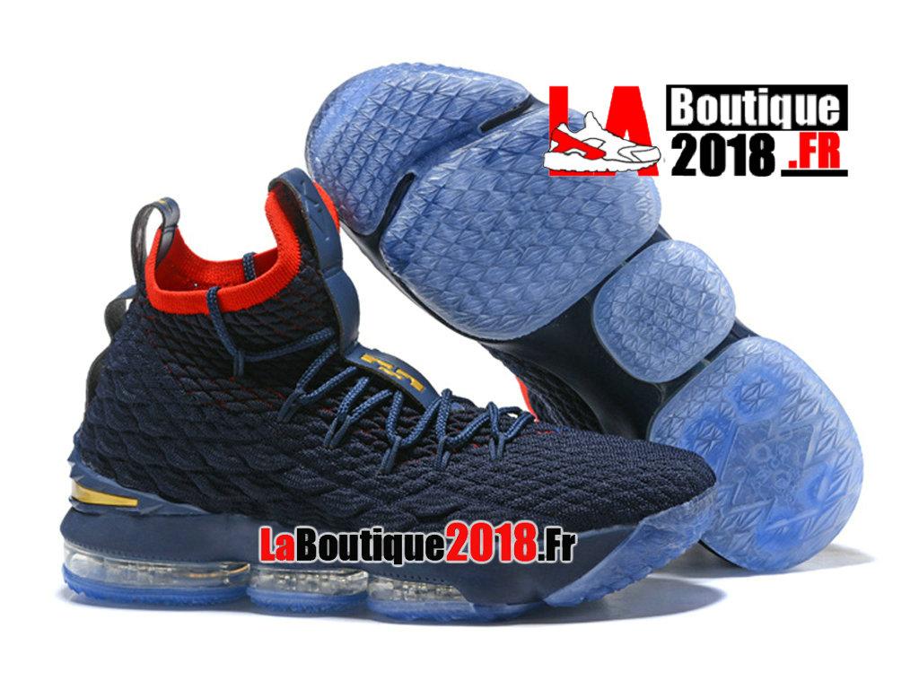 2544ffc0488 ... Officiel Nike LeBron 15 Bleu Rouge Chaussure Basket Nike Sneaker Pas  Cher Pour Homme ...