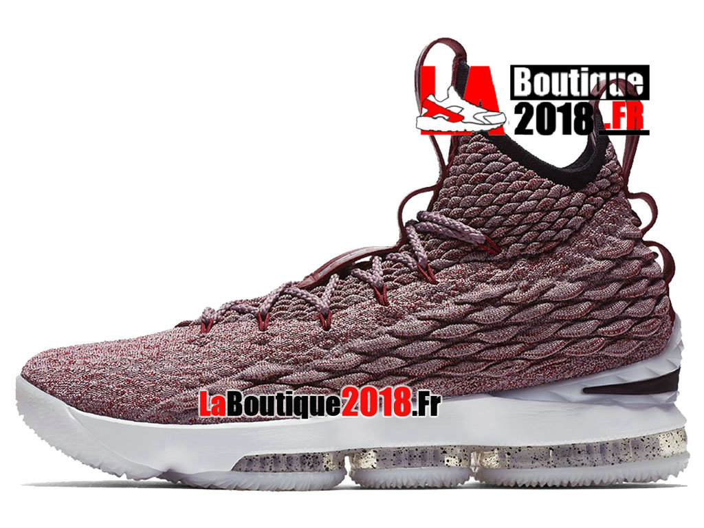 a87032dc2219 ... Officiel Nike LeBron 15 Wine Red Flyknit White Rose Blanc 897649-201  Chaussure Basket Nike ...