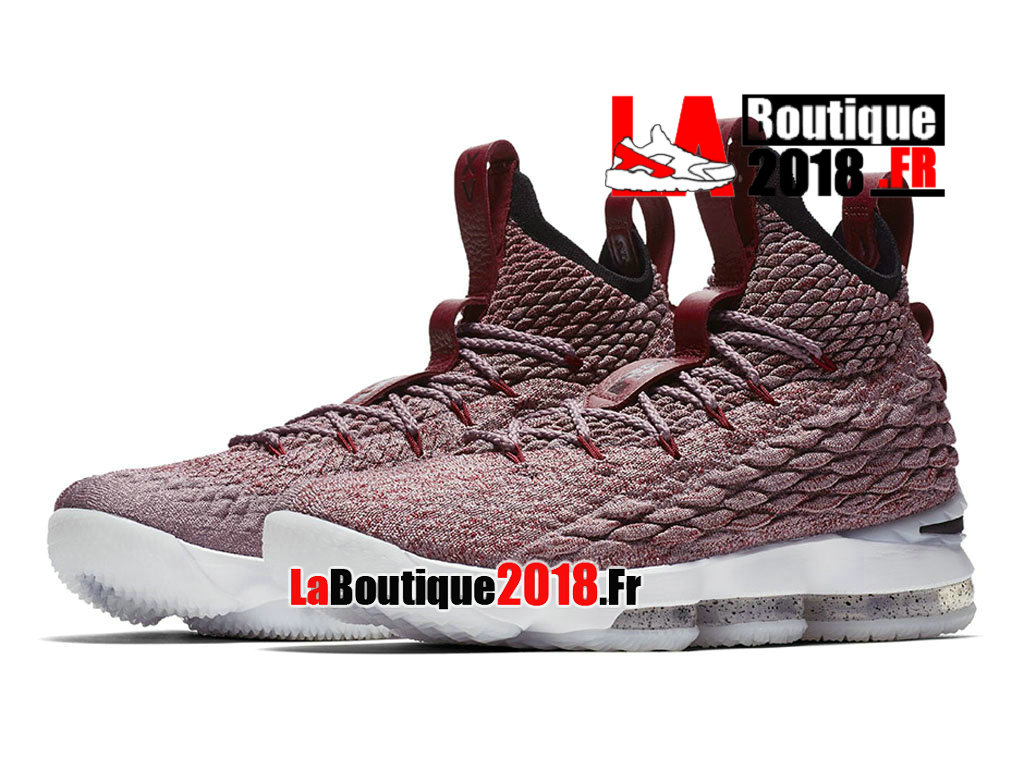 6ab3613d83b5 ... Officiel Nike LeBron 15 Wine Red Flyknit White Rose Blanc 897649-201  Chaussure Basket Nike