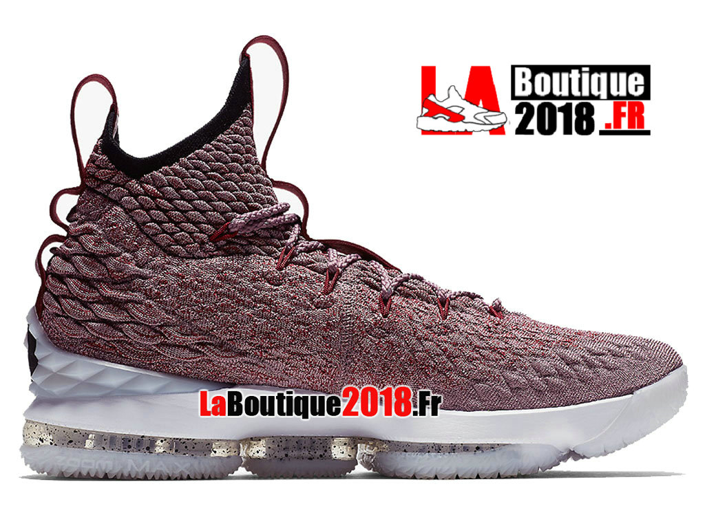 a8a406eb749c Officiel Nike LeBron 15 Wine Red Flyknit White Rose Blanc 897649-201  Chaussure Basket Nike ...
