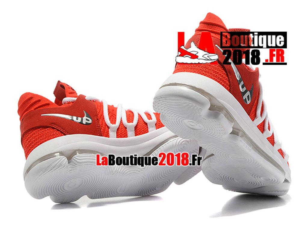 08c9fb5ddbca9 ... Officiel Nike Zoom KD 10 EP Rouge Blanc Chaussure Basket Nike Sneaker Pas  Cher Pour Homme ...