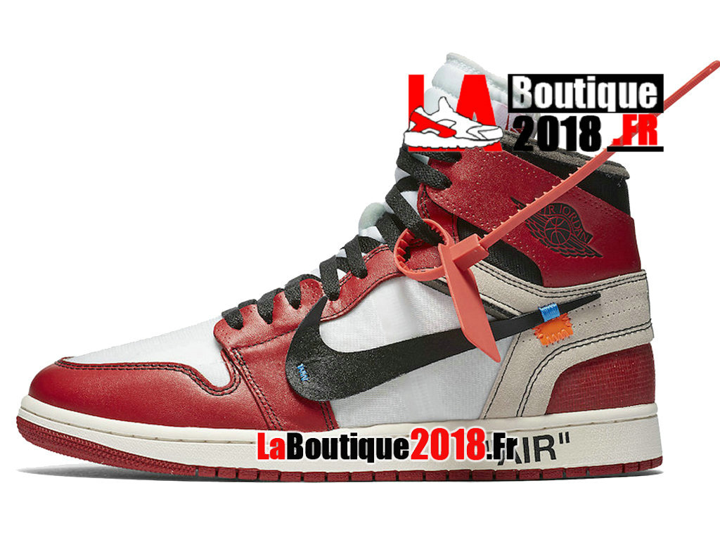 Officiel Off-White x Air Jordan 1 - Chaussures Nike Sneaker Pas Cher Pour Homme Blanc Rouge AA3834-101