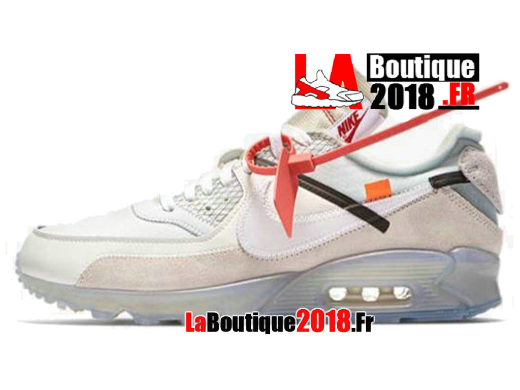 Officiel Off-White X Nike Air Max 90 - Chaussures Nike Sneaker Pas Cher Pour Homme Blanc AA7293-100