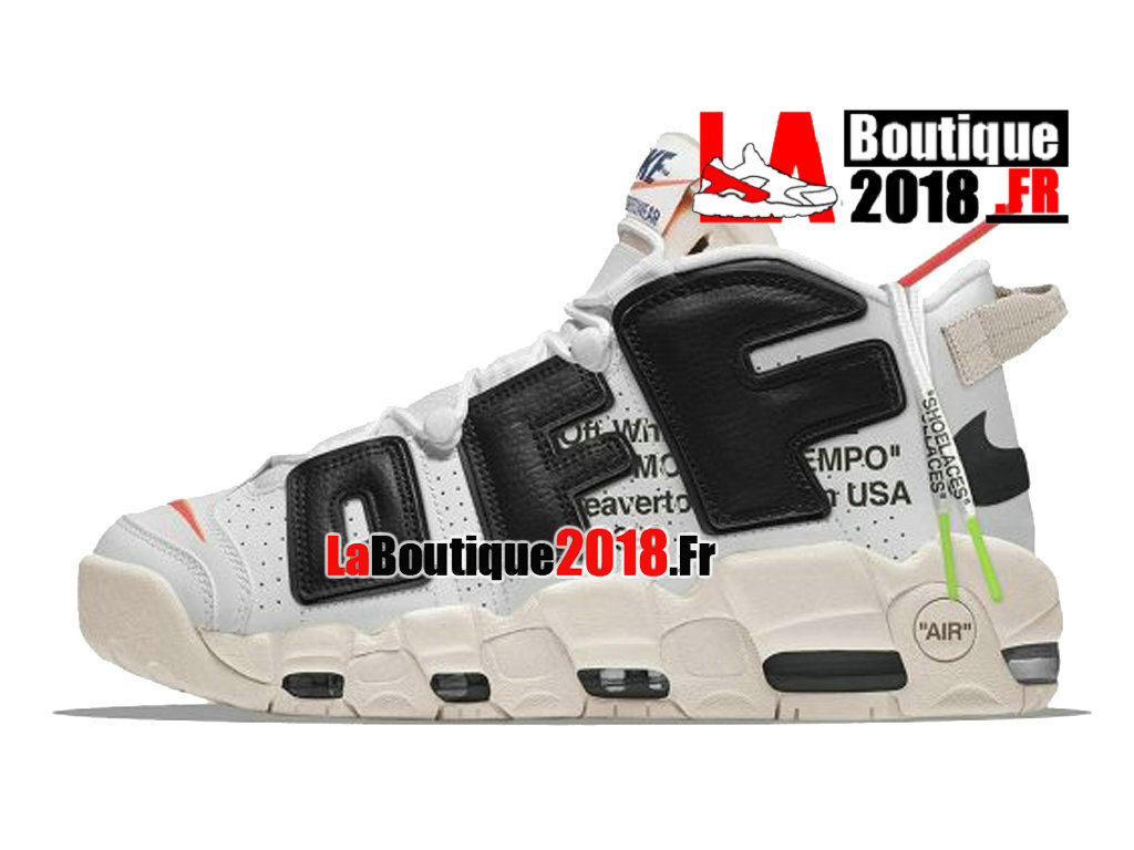Officiel Off-White x Nike Air More Uptempo 96 - Chaussures Nike Sneaker Pas Cher Pour Homme Blanc/Noir AA4060-201