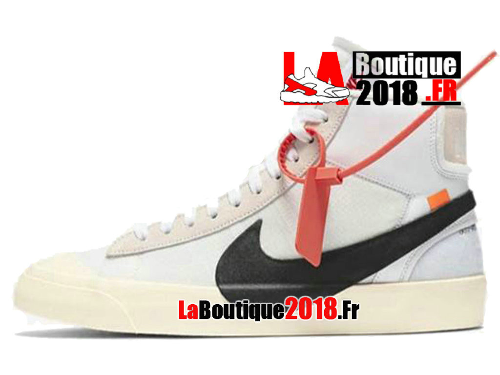 Officiel Off-White X Nike Blazer Mid - Chaussures Nike Sneaker Pas Cher Pour Homme Blanc Noir AA3832-100