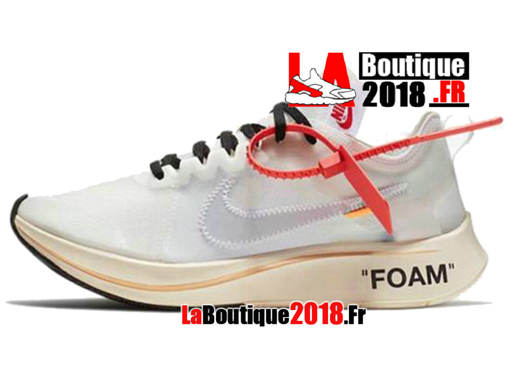 Officiel Off-White X Nike Zoom Fly - Chaussures Nike Sneaker Pas Cher Pour Homme Blanc AJ4588-100