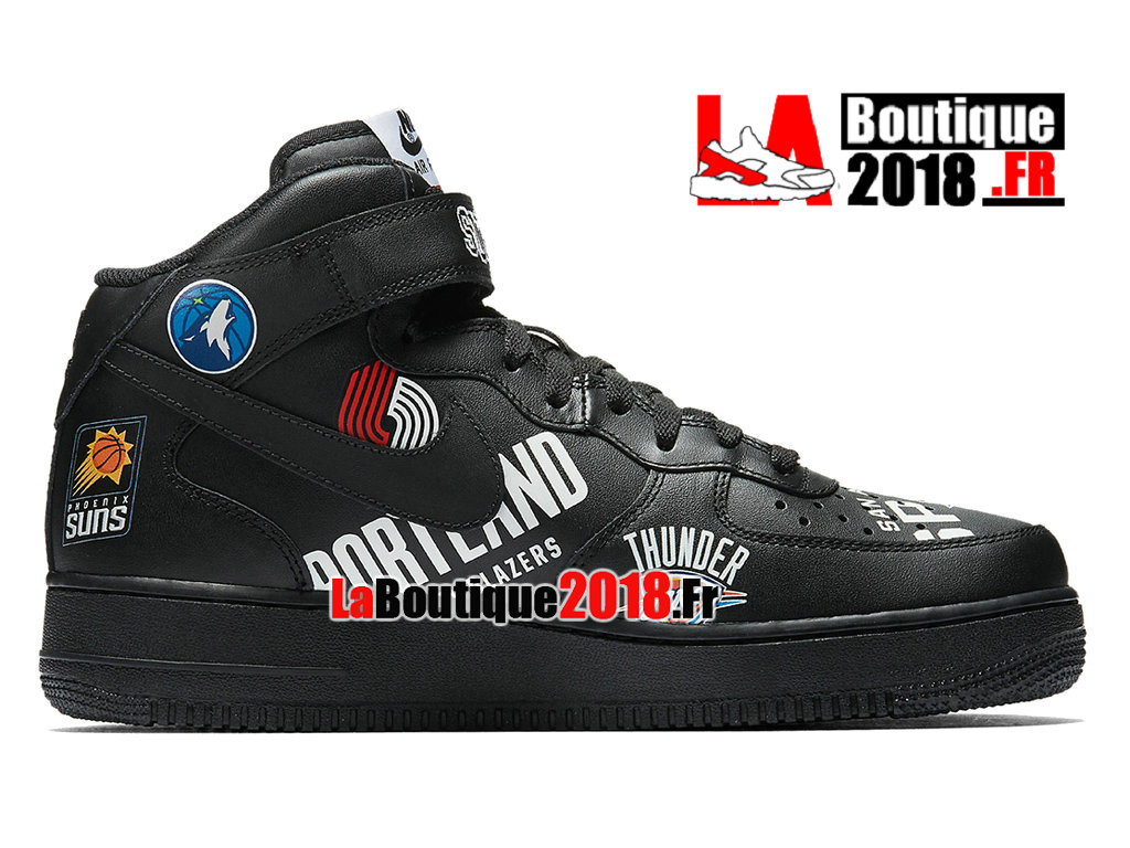 Officiel Supreme Nike Air Force 1 Mid Black NBA Logos AQ8017-001 Chaussures Nike Sneaker Pas Cher Pour Homme